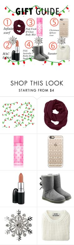 """""""Gift Guide"""" by baileyoutfitters ❤ liked on Polyvore featuring Athleta, Victoria's Secret PINK, Casetify, MAC Cosmetics, UGG Australia, Kim Rogers, Acne Studios, giftguide, BFF and giftideas"""