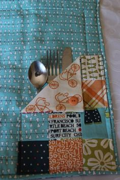 Placemats with silverware pockets. such a good idea!