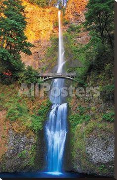 Multnomah Falls- Oregon by Amanda Hall Landscapes Stretched Canvas Print - 61 x 93 cm