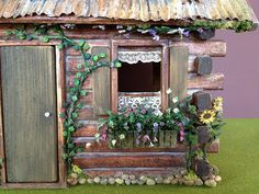 This is my fairytale log cabin dollhouse miniature fairy house project with hedgehog family. Cabin Dollhouse, Dollhouse Miniatures, Fairy Garden Houses, Fairy Gardens, Look Retro, Fairy Furniture, Miniature Houses, Cabin Homes, House In The Woods