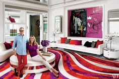Tommy Hilfiger's Vibrant Miami Home Photos | Architectural Digest- jean-Michael basquiat & Andy Warhol collaborative painting
