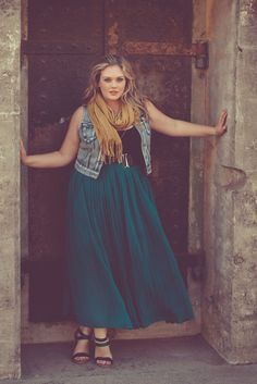 I love everything - the colour and style of the skirt, the belt and the jeans vest