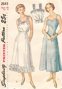 1940s Lingerie Pattern for Princess Slip by daisyepochvintage