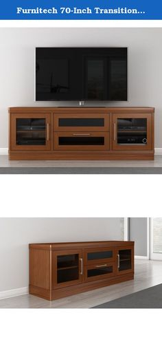 Furnitech 70-Inch Transitional console with radius corners & large center channel speaker compartment & fluted solid cherry edge detail Light Cherry Finish). 70 inch Transitional TV Entertainment Console For Plasma/LCD Installations. Features Include: Radius Corners, Solid Brazilian Cherry Wood Fluted Edge Detail, Wood Framed Smoked Tempered Glass Doors, Center Channel Speaker Drawer; Media Storage Drawer; Internal Wire Management and Ventilated Removable Back Panels.