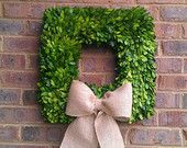 16 inch Thick Square Preserved Boxwood Wreath Etsy Wreath with Burlap Bow Wedding Decor