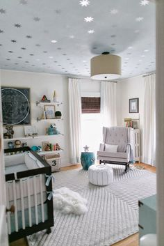 Chevron Knot Rug from west elm and starry ceiling via Reed's Soft, Starry Space Nursery Tour Anderson Anderson Locicero Therapy Family Nursery Themes, Nursery Room, Kids Bedroom, Nursery Decor, Sky Nursery, Nursery Ideas, Project Nursery, Galaxy Nursery, Star Themed Nursery