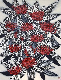 'Tree Waratah': artwork by Julie Hickson, pod and pod gallery (Sydney, NSW, Australia) Australian Wildflowers, Australian Native Flowers, Australian Artists, Botanical Drawings, Botanical Illustration, Botanical Prints, Wildflower Drawing, Aboriginal Art, Linocut Prints