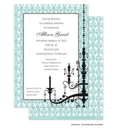 Aqua Chandelier Invite: This elegant invitation features a border of pale aqua blue and white fleur de lis wallpaper with the silhouette of an elegant chandelier in black. Turn the card over and find the charming detail of the aqua and white pattern also printed on the back of the card.