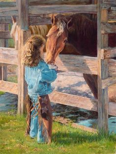 Morning Chores by June Dudley Little Cowgirl Feeding The Horses Canvas 11x14 #Realism - June Dudley paints images that allow viewers to peek into and enjoy the wonderful world of children.  Her special little people are always busy with chores or having fun.  Delightfully adorable in her denim, this busy helper is glad to lend a hand to feed a hungry horse.