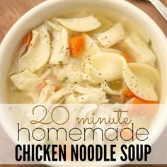 This easy homemade chicken noodle soup recipe can be made in 20 minutes when you are wanting a soup but without all the extra work. I think your family will love it.