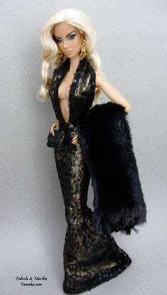 Black Gold Sequin Fashion For Fashion Royalty and by Famaka, $50.00