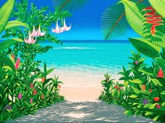 One of the easiest ways to add an island vibe to an interior space is with beach scene wallpaper and tropical wall murals. Shop our extensive selection of beach wallpapers and beach wall murals. Seascape Paintings, Landscape Paintings, Beach Wall Murals, Garden Mural, Murals Your Way, Jungle Art, Hawaiian Art, Caribbean Art, Tropical Art
