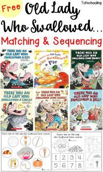 FREE printable matching and sequencing activities to go along with the book series Old Lady Who Swallowed. Sequencing Activities, Preschool Literacy, Speech Activities, Preschool Books, Speech Therapy Activities, Toddler Activities, Learning Activities, Toddler Preschool, Story Sequencing