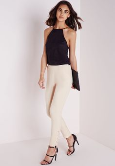 Missguided - Eyelet Detail Crepe Cigarette Trousers Nude