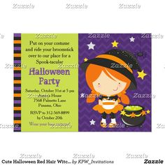 Cute Halloween Red Hair Witch Party