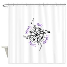 Bamboo Shower Curtain - Shower curtain with words