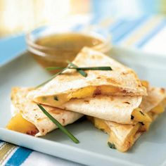 Peach and Brie Quesadillas with Lime-Honey Dipping Sauce (from cookinglight.com).