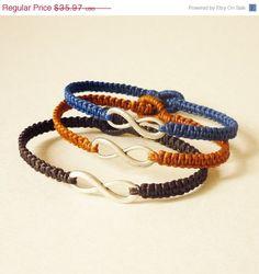 Woven infinity bracelets.