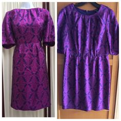 Banana Republic Damask Purple & Black Dress Never wore Reposhed and dry cleaned dress. It's silk and polyester. Very beautiful color and timeless style. Banana Republic Dresses