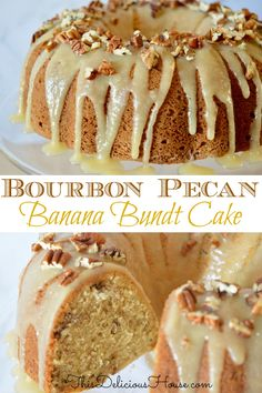 Bourbon Pecan Banana Bundt Cake with a Bourbon Butter Glaze! So moist and delicious, it's the best way to use up those ripe bananas! More from my siteBourbon Pecan Banana Cake Bunt Cakes, Cupcake Cakes, Banana Bundt Cake, Banana Cupcakes, Banana Bread, Brunch Cake, Banana Recipes, Pecan Recipes, Savoury Cake