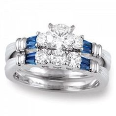 Product Name: White Gold Diamond and Blue Sapphire Wedding Set, Category: Engagement & Wedding, SKU/Style: 11844213/11185wsa, Price: $2,800, Metal: White Gold 14kt, Center Stone: Diamond 1/2 ct