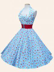 1950s Halterneck Cupcake Blue Dress