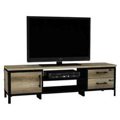 """Authentique et vintage, ce <strong>meuble TV ARTY</strong> aux <strong>allures industrielles</strong>, est aussi très pratique avec ses <strong>nombreux rangements</strong>: 2 plateaux centraux (idéal pour votre matériel vidéo/ hi-fi), 2 tiroirs et sa porte.<br /><br />Ce meuble TV supporte une TV de maximum 30 Kg.<br /><br />Ce banc TV peut être asocier à la table basse de la même série (code 557375)<br /><br /><span style=""""text-decoratio..."""