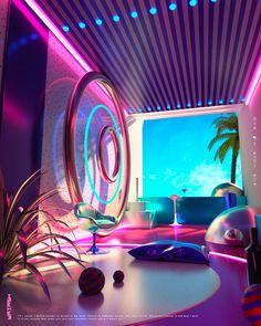 Space Escape Illustration Series - Dr Wong - Emporium of Tings. - Digital Painting - Space Escape Illustration Series – Dr Wong – Emporium of Tings. Hotel Lobby Design, Futuristic Interior, Retro Futuristic, Neon Aesthetic, Aesthetic Rooms, Vitrine Design, Neon Led, New Retro Wave, Neon Room