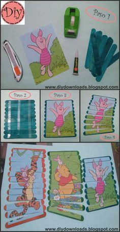 Hola!!! hoy les traigo estos puzzles Diy para los más peques de la casa...yo he elaborado estos de Winnie de Pooh, para mis primillos melli...