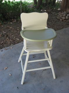 Vintage Wooden High Chair Hand Painted Ivory. Would sew some sweet cushions to go on it