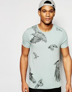 cc2aef66 ASOS Muscle T-Shirt With Bird Print In Green Buy T Shirts Online,  Independent
