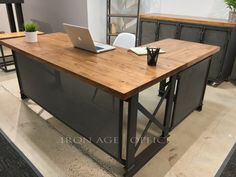 Executive Carruca L-Shaped Office Desk More information on this product here: http://bit.ly/2wACbUu Stain options: www.ironageoffice.com/stains - If you would like samples of our stains please contact cb@ironageoffice.com Dimension options: Contact cb@ironageoffice.com for dimension
