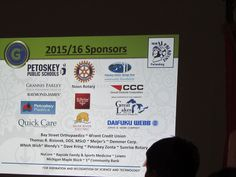 The many sponsors for Petoskey Robotics being displayed at today's presentation for Rotary Club of Petoskey — at Stafford's Perry Hotel.