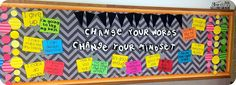 Growth Mindset bulletin board. Change your words, change your mindset!