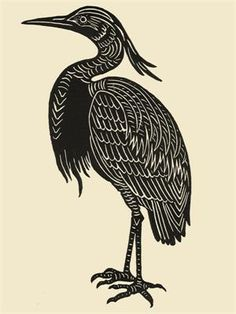 Evening Heron Print by Jennifer Ament - Limited Edition of 30 - Each pattern is handcarved in linoleum, and then rolled in black ink.