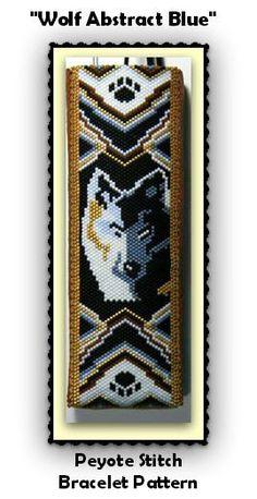 BP-AB-146 - 2015-94 - Wolf Abstract Blue - Peyote Stitch Bracelet PATTERN, seed bead jewelry, beadweaving tutorial,beaded bracelet, beadwork