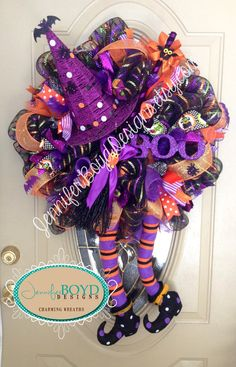 Halloween Witch Deco Mesh Wreath by Jennifer Boyd Designs… Halloween Mesh Wreaths, Halloween Ribbon, Halloween Home Decor, Holiday Wreaths, Fall Halloween, Halloween Crafts, Halloween Decorations, Autumn Wreaths, Holiday Crafts
