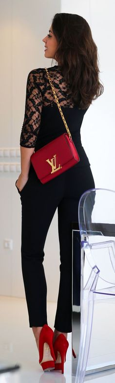 Street style fashion / karen cox. Chic In The City- Louis Vuitton Red Chic Shoulder Bag | ~LadyLuxuryDesigns