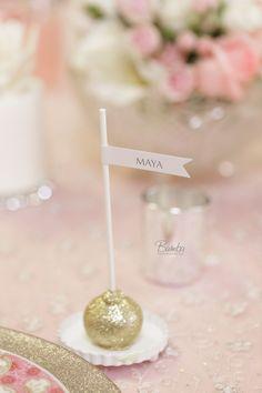 Glitter cake pop place cards/favors #wedding #favor