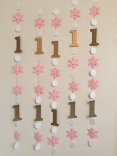 Need some Winter Themed 1st Birthday decorations that really stand out? These garlands are the ticket!!! Works for a boy or a girl since you can choose the colors!! And you select the number of individual strands that you need for your event! I made these Sample Onederland party