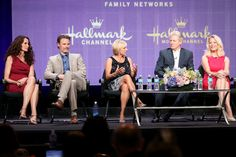 Andie MacDowell Photos Photos - (L-R) Actors Andie MacDowell, Dylan Neal, Teryl Rothery, Bruce Boxleitner and Barbara Niven speak onstage during the Debbie Macomber's Cedar Cove panel at the Hallmark Channel and Hallmark Movie Channel portion of the 2013 Summer Television Critics Association tour at the Beverly Hilton Hotel on July 24, 2013 in Beverly Hills, California. - Summer TCA Tour: Day 1
