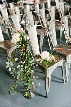 Metal ceremony chairs: http://www.stylemepretty.com/new-york-weddings/new-york-city/brooklyn/2015/07/30/brooklyn-wedding-at-the-green-building/ | Photography: Sasithon - http://www.sasithonphotography.com/
