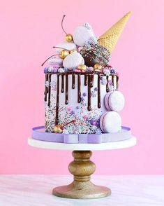 Without the ice cream cone cream design selber machen ice cream cream cream cake cream design cream desserts cream recipes Pretty Cakes, Cute Cakes, Beautiful Cakes, Yummy Cakes, Amazing Cakes, Amazing Birthday Cakes, Birthday Cupcakes, Birthday Cake Ice Cream, Purple Birthday Cakes