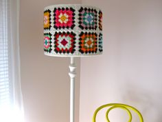 Crochet Cover-Up ~ A Granny Square LampShade Cover That Slips On and Off Easily For Laundering.