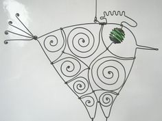Metal Animal Sculpture    Hanging Wire Rooster In by MyWireArt, $19.00