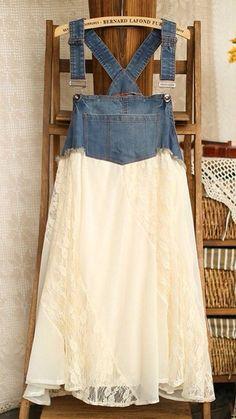 Верх - из старых джинс, юбка-шифон