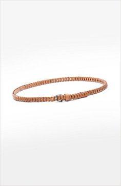 slim woven leather belt 10