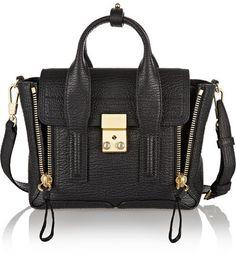 Stylish Fashion Handbag - The Pashli Mini Textured-leather Trapeze Bag - Black