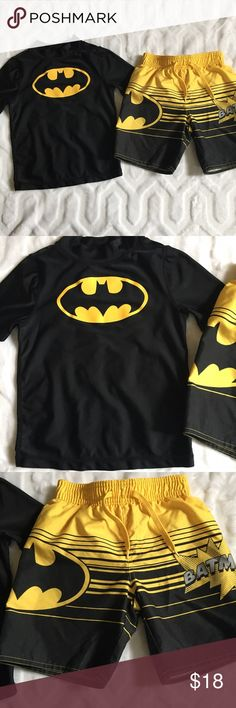 Old Navy Batman swim trunks and rash guard EUC Batman swim trunks and matching rash guard. Both are 4t. From Old Navy. Trunks have drawstring but it is for looks only. Old Navy Swim Swim Trunks
