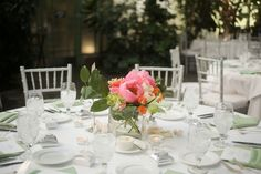 A coral and celadon summer wedding at the greenhouse at La Caille | Pepper Nix Photography: peppernix.com